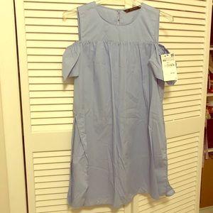 Zara Light Blue Cold Shoulder Skort Dress- XS/S